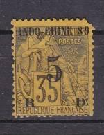INDOCHINE - N°Y&T - 2  - 5c S/ 35c Violet Noir S/jaune - Type Dubois Des Col Gen Surchargé - N* - Indochina (1889-1945)