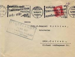 CECOSLOVACCHIA  - PRAHA  16.VIII.34  -  KUPUJTE - Briefe U. Dokumente