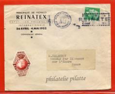 MONACO LETTRE A ENTETE,VIGNETTE;ET FLAMME EXPO REINATEX DU 06/04/1952 - Postmarks
