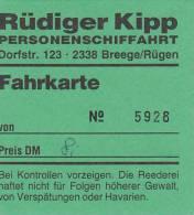 Breege, Rügen, Rüdiger Kipp Personensachifffahrt, Fahrschein, Billett, Ticket,  1992 - Schiffstickets
