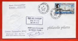 T.A.A.F MARION DUFRESNE LETTRE DES KERGUELEN DU 27/04/1975 - Terres Australes Et Antarctiques Françaises (TAAF)