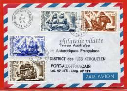 T.A.A.F BATEAUX PA N°30/33 SUR LETTRE DES KERGUELEN DU 14/01/1974 - Franse Zuidelijke En Antarctische Gebieden (TAAF)