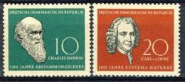 "1958 German Democratic Republic Cplt. MNH (**) Set Of 2 Stamps ""Charles Darwin "" Michel 631-32 - Unused Stamps"