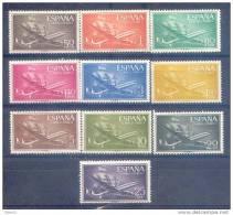 ES1169-LB083TL.lote.,Sp Ain.Aviones.Barcos.SUPER CONSTELLATION  Y NAO SANTA MARIA 1955/56.(Ed. 1169/79**)sin Charnela - Timbres