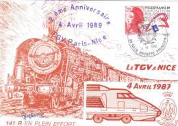 LOCOMOTIVE N° 141 R  1108 Exposée En Gare De NICE Pour Anniv. T.G.V. - Trains
