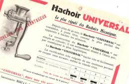 """""""UNIVERSAL"""" & """"JOLP"""" Hachoirs à Viande Format A5 R/V - Publicités"""