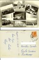 Augusta (Siracusa): Saluti Con 6 Vedutine. Cartolina B/n Viaggiata 1957 (Saline Kursaal Augusteo Giardini Pubblici Ecc.. - Siracusa
