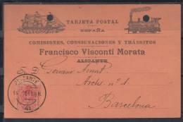AALICANTE  .TARJETA  POSTAL  COMERCIAL. FRANCISCO VISCONTI MORATA  .FOTO ANVERSO Y REVERSO CIRCULADA 1911 CON SELLO - Alicante