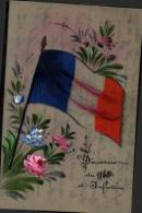 Carte Celluloïde Peinte Main Drapeau Français - Souvenir Du 160° D'infanterie - Regiments
