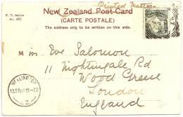 NZ - MASTERTON - Tararua Range. From Waingawa River +++ To Wood Green, London, ENGLAND, 1905 +++ F. T. Series, #362 +++ - Nouvelle-Zélande