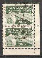 Canada  1953 Pulp And Paper  (o)  Perfin PS - Perfins