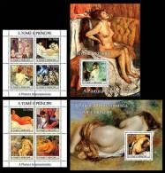 S. TOME & PRINCIPE 2004 - Nude Paintings, Impressionisme - Mi 2691-8 + B527-8, YT 1966-73 + BF311-2 - Naakt