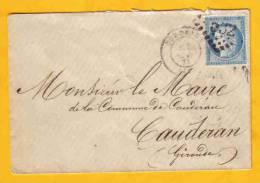 LSC De Bordeaux Avec N° 60 Variété 2 Perles Pleines  + Perle Angle Inférieur Droit Obl GC 532 + Cad Arrivée - 1849-1876: Klassik