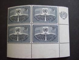 UN NEW YORK 1951  3C  CORNER BLOCK     MNH ** (025408-010/015) - New York - Sede De La Organización De Las NU