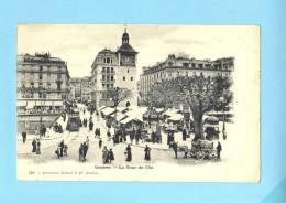 GENEVE SUISSE Schweiz Svizzera - LA TOUR DE L'ILE - Precurseur 1900- Marché Animé Tram Avec Attelage Chevaux ,diligence. - GE Ginevra
