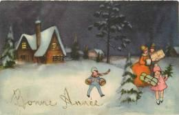 Themes Div-ref E625- Illustrateur Enfants -bonne Année En Relief -carte Bon Etat - - 1900-1949