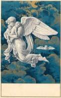 Themes Div-ref E570  - Illustrateur - Carte Postale Fond Doré- Theme Anges  - Carte Bon Etat   - - Illustrateurs & Photographes