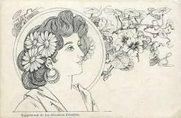 Themes Div-ref E546 - Illustrateur -medaillon Portrait De Femme -supplement De La Broderie Illustrée -art Nouveau - - Illustrateurs & Photographes