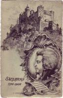 PC6812 Postcard: Mozart With Salzburg Castle - Música Y Músicos