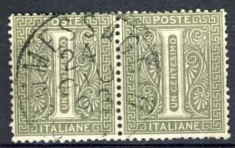 Regno VE 1862 Sassone N. T14  C. 1 Verde Grigio Coppia Orizzontale, Cat. € 10 - 1861-78 Vittorio Emanuele II