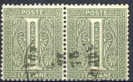 Regno VE 1862 Sass. N. L14  (Londra) C. 1 Verde Grigio Coppia Orizzontale, USATA, Cat E 60 - 1861-78 Vittorio Emanuele II