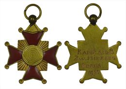 M01349 Croix émail Rouge Bronze Doré Breda 1952 Mikkers (14 G.) - Pays-Bas