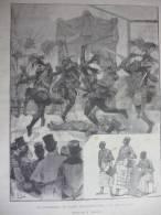Les Dahoméens Au Jardin D'Acclimatation , La Danse De Guerre , Gravure Dochy Dessin Gerlach 1891 - Documents Historiques