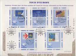 """Lettre Document """" Tour D'Europe Sur Blocs-Feuillets Souvenir """" 500 Exemplaires - Europäischer Gedanke"""