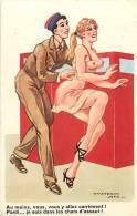 Themes Div-ref E500- Illustrateur - Carte Humoristique -humour - Pin Up - Chars D Assaut - Tanks  -carte Bon Etat  - - Humoristiques
