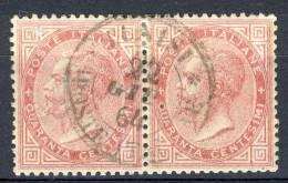 Regno VE2, 1863, N. L20 C. 40 Rosa Carminio, Coppia, Annullo TUNISI POSTE ITALIANE 21/6/1864, Punti 6, Firmato Biondi - 1861-78 Vittorio Emanuele II