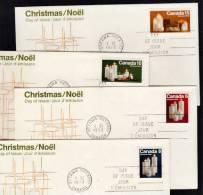 A0001 CANADA 1972, SG745-8 Christmas, Set Of 4 FDCs - 1952-.... Règne D'Elizabeth II