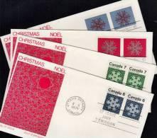 B0043 CANADA 1971, SG677-80 The Maple Leaf In Four Seasons, Set Of 4 FDCs - 1952-.... Règne D'Elizabeth II