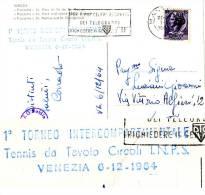 Table Tennis Italy Very Rare Cachet 1964 Venice On Card - Tafeltennis
