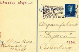 B03 - Carte Postale Hollande De 1950 - Fabrique De  Cigares Dejaco - Utrecht Station Vers Culenborg - Entiers Postaux