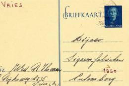 B03 - Carte Postale Hollande De 1950 - Fabrique De  Cigares Dejaco - Vries Vers Culenborg - Postal Stationery