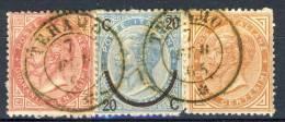 REgno VE2,  1863, Notevole Frammento  Tricolore (T20 - L25 -T17) Annullo DC Teramo 7 Feb 1865, Punti 1 Cat. € 380 - 1861-78 Vittorio Emanuele II
