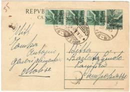 J389) ITALIA CARTOLINA POSTALE DEMOCRATICA 12 LIRE DEL 1948 VIAGGIATA - 6. 1946-.. Repubblica