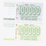 Sarajevo Vouchers, Money War 100 000 Dinara 1993, Both Versions - Bosnia And Herzegovina