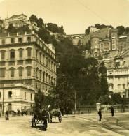 Italie Napoli Naples Place Amedeo Ancienne Stereo Photo Stereoscope NPG Ca 1900 - Stereoscopio