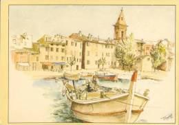 FRANCE : 2B : ## SAINT-FLORENT – Le Port, L'église. ##  Dessin D'après Nature Par Michel PERRÉARD. - France