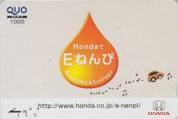 Carte Prépayée Japon  - Voiture HONDA / Economie Ecologie - CAR Japan Prepaid Card - Auto Quo Karte - 825 - Auto's