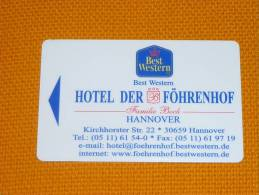 Germany - Hannover Best Western Der Fohrenhof Hotel Magnetic Key Card (beer/vin/halleroder Pils) - Grecia