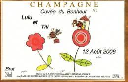 """Etiquette  Champagne    Elaboré Par Château-Malakoff - Cuvée Du Bonheur """"Lulu & Titi"""" (Coccinelles) - Coppie"""
