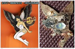2007- HARD ROCK CAFE MENPHIS- SERIE LIMITEE A 300 EX---4CM SUR6.00CM- Verso Hologramme 2 ATTACHES - Pin-ups