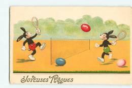 JOYEUSES PAQUES - Lapin Humanisés Disputant Match De TENNIS Avec Oeufs - Sport - TBE - Edit. WSSB - 2 Scans - Tennis