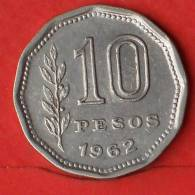ARGENTINA  10  PESO  1962   KM# 60  -    (1745) - Argentina