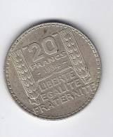 Pièce De Monnaie De 20 F FRANCS TURIN P  ( Argent ) De 1934 En Bon état ( Voir Scanne ) Marianne - France