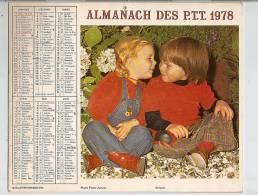 Calendrier 1978, Almanach Des PTT,poste, Enfants, Lapins ,département 34,,format 26 X 21 Cm - Calendriers