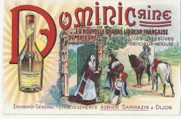 COTE D OR 21.DIJON CARTE PUBLICITE DOMINICAINE LIQUEUR ETABLISSEMENTS ADRIEN SARRAZIN - Dijon