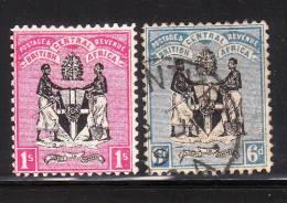 British Central Africa 1896 Coat Of Arms 2v Used - Grande-Bretagne (ex-colonies & Protectorats)